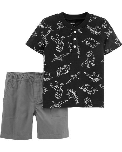 7edd96dd1 2-Piece Dinosaur Slub Jersey Henley & Canvas Short Set | My Baby Boy ...