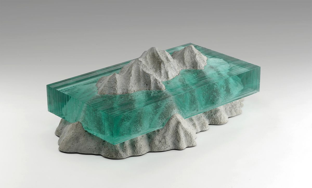 Incredible Layered Glass Wave Sculptures By Ben Young Glass - Incredible layered glass table mimics oceans depths