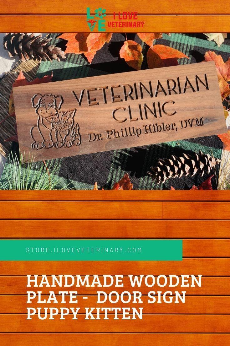 Handmade Wooden Plate Door Sign Puppy Kitten