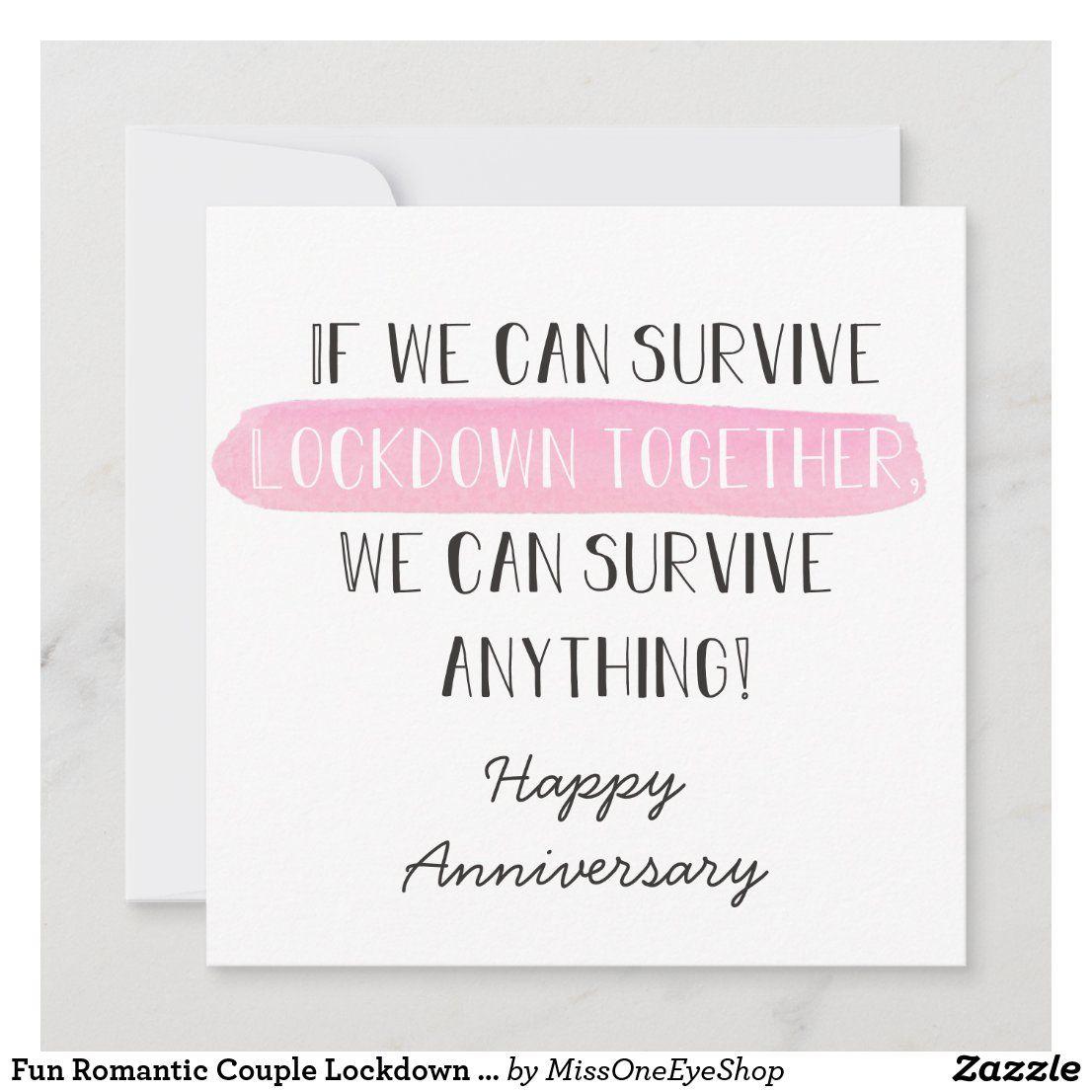 Fun Romantic Couple Lockdown Anniversary Card Zazzle Com In 2021 Husband Birthday Card Anniversary Cards Personal Celebration
