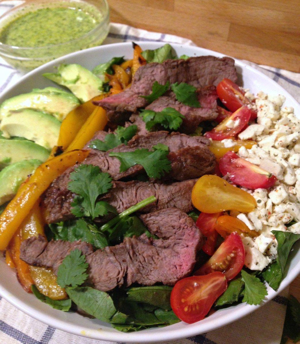 Steak Salad with Cilantro Avocado Dressing - Forks 'n ...