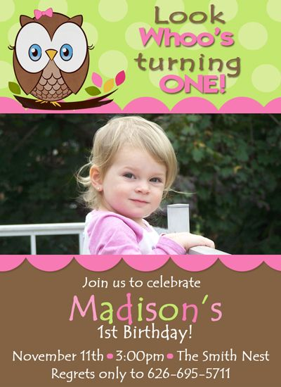 Look Whoos Turning One Custom Photo Birthday Invitations 2