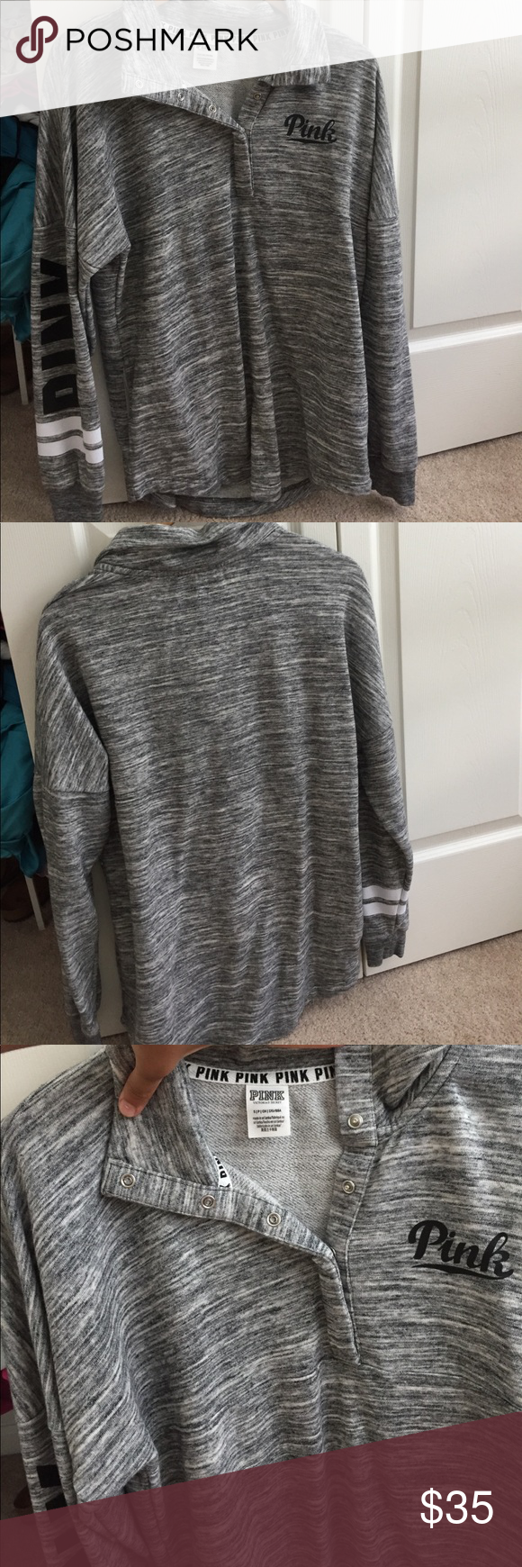 VS PINK snap pullover Marled gray snap up pull over. Tags were taken off. Worn once. In perfect condition. It is very oversized can fit a XS, S, M PINK Victoria's Secret Tops Sweatshirts & Hoodies