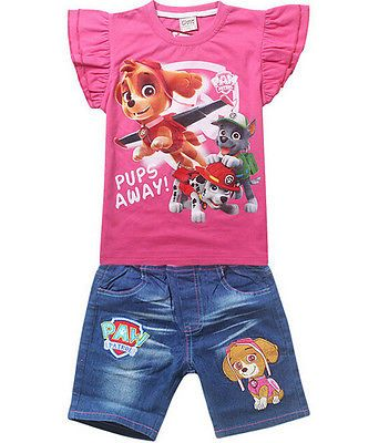 34b67eea8 PAW Patrol Skye Clothing Girls Outfits T-shirts Top Jeans Set Shorts PUPS  AWAY