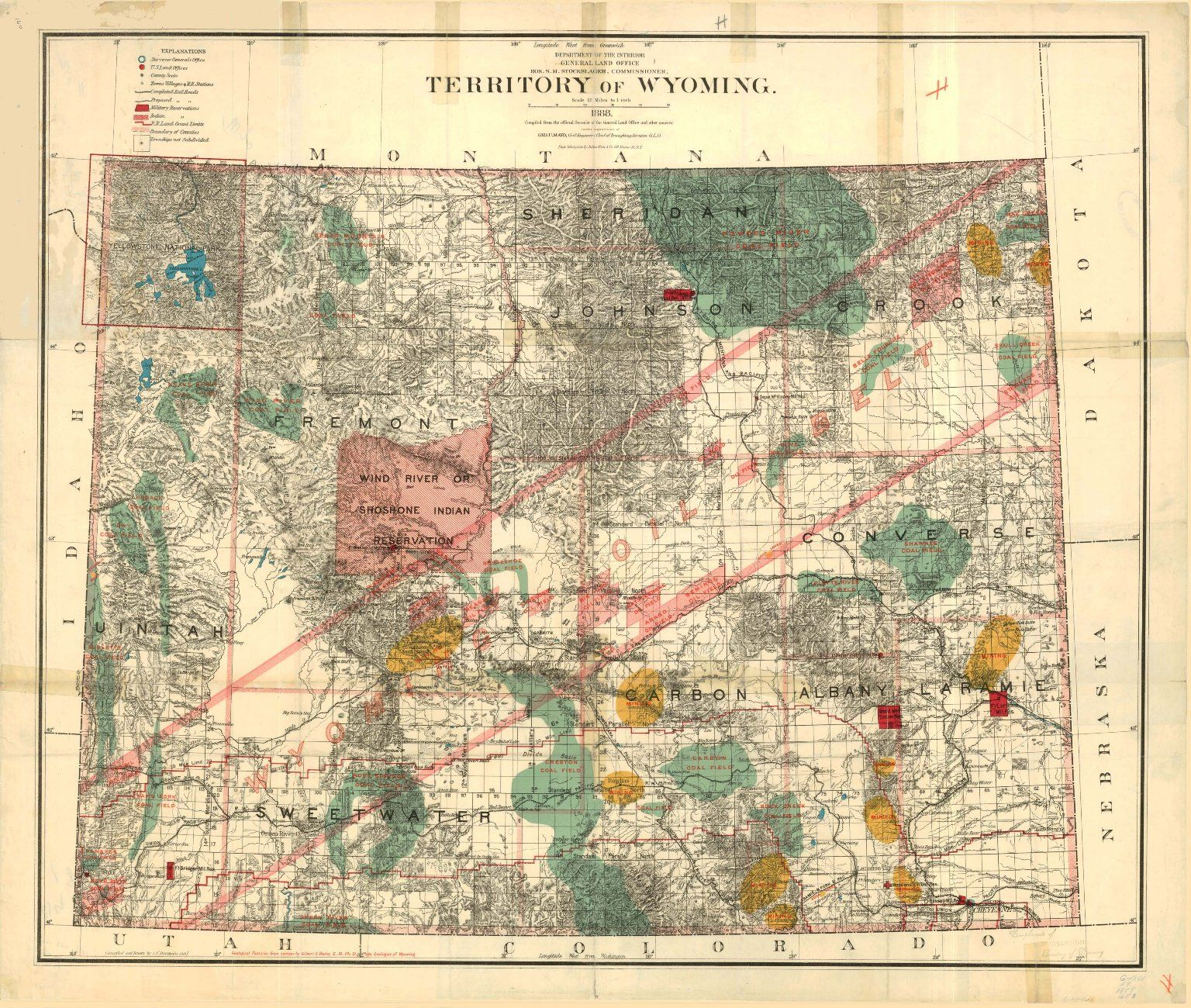 1888 Territory of Wyoming map by the US Department of the Interior on