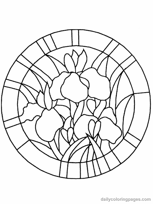 Flower Page Printable Coloring Sheets Stained Glass Flower Coloring Pages