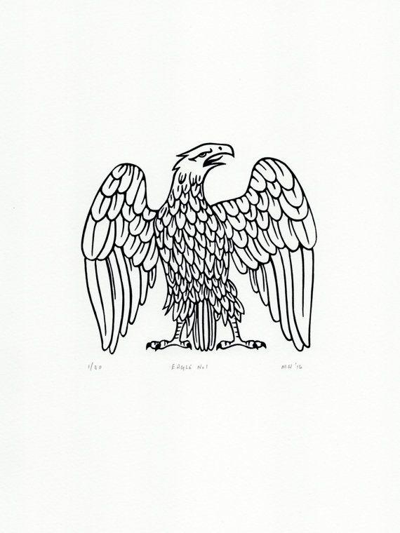 Original signed Linocut Eagle