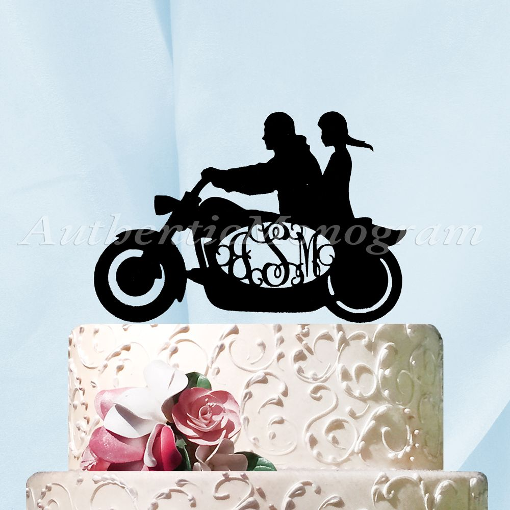 4 Inch Custom Wooden Three Letter Monogram Motorcycle Cake Topper