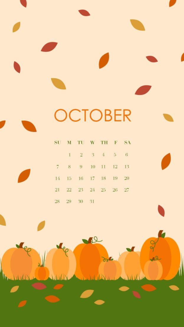 October 2018 Halloween Calendar For iPhone Фоны для iphone