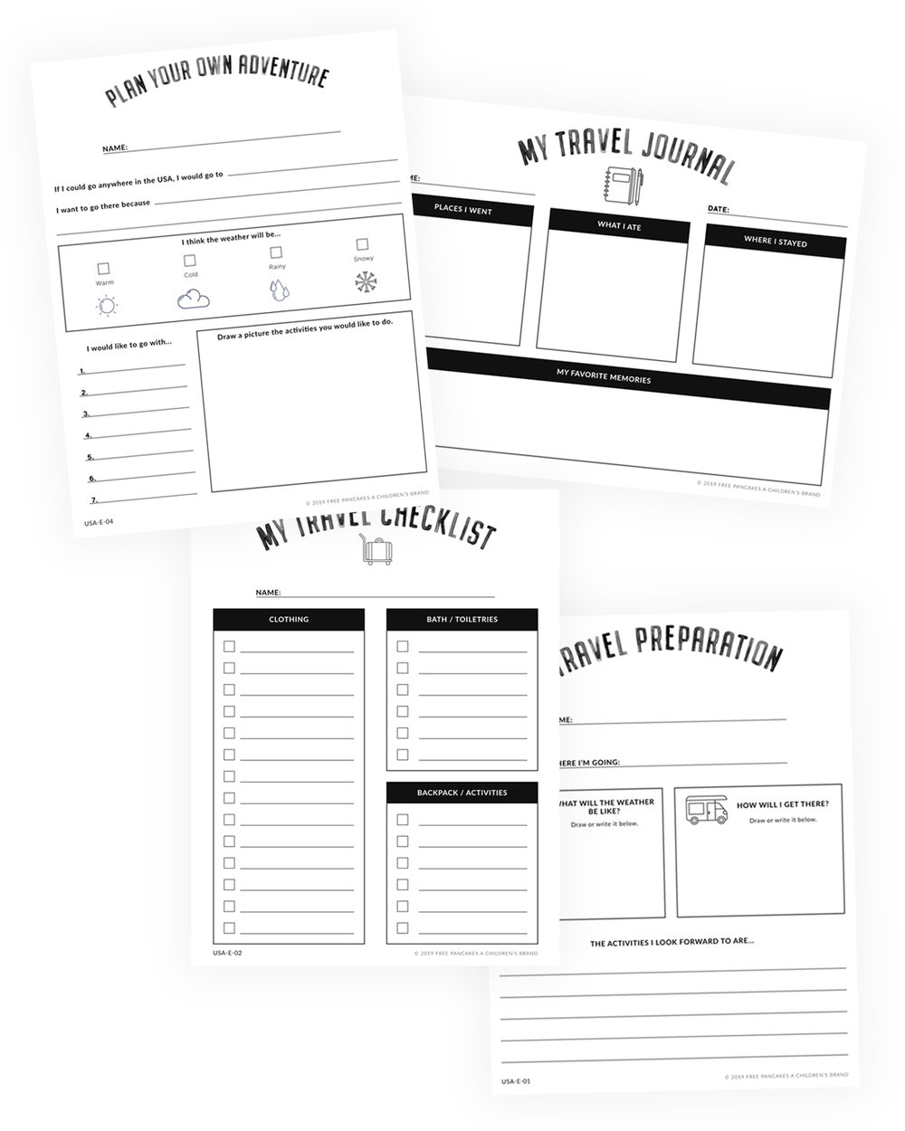 Printable Travel Journal And Travel Checklists For Kids Homeschool Learning United States Geography Kindergarten Curriculum [ 1250 x 1000 Pixel ]