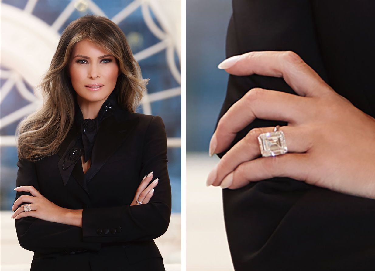 Melania Trump 10 Year Anniversary Ring 20190604 Jun 04 2019 At 19 43 Celebrity Engagement Rings Diamond Anniversary Rings Wedding Rings Vintage