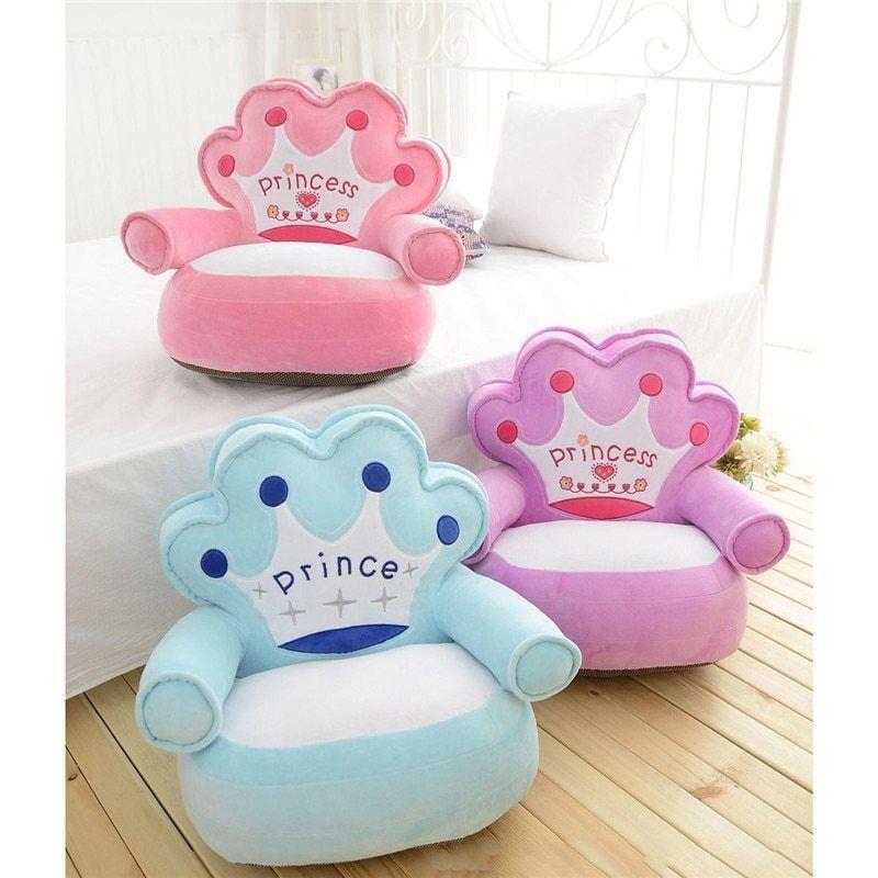 Details About Kids Plush Chair Velvet Cartoon Crown Seat No