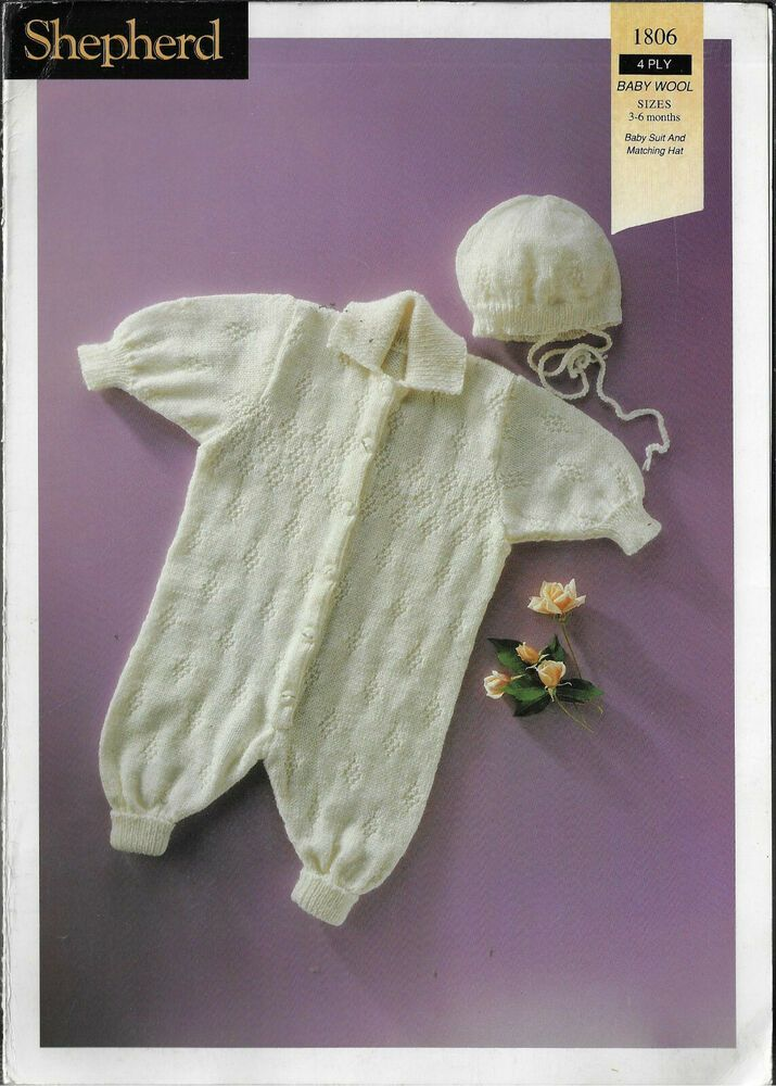 3519b9e412e0a Baby All in One Suit   Hat Shepherd 1806 knitting pattern 4 ply yarn   Shepherd