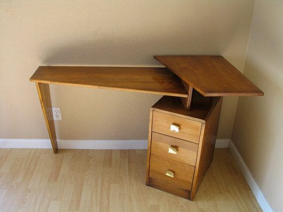 Danish Modern Mid Century Teak Floating Desk Atomic Studio Corner Desk Eames Era Decor