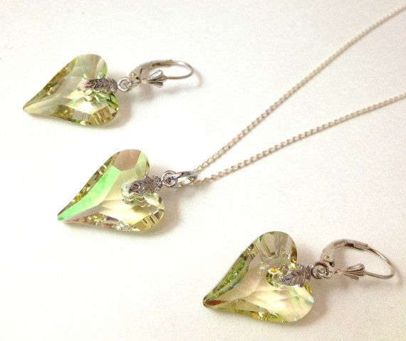 Swarovski Luminous Green Crystal Heart by LittleBoxOfCrystals, $50.00