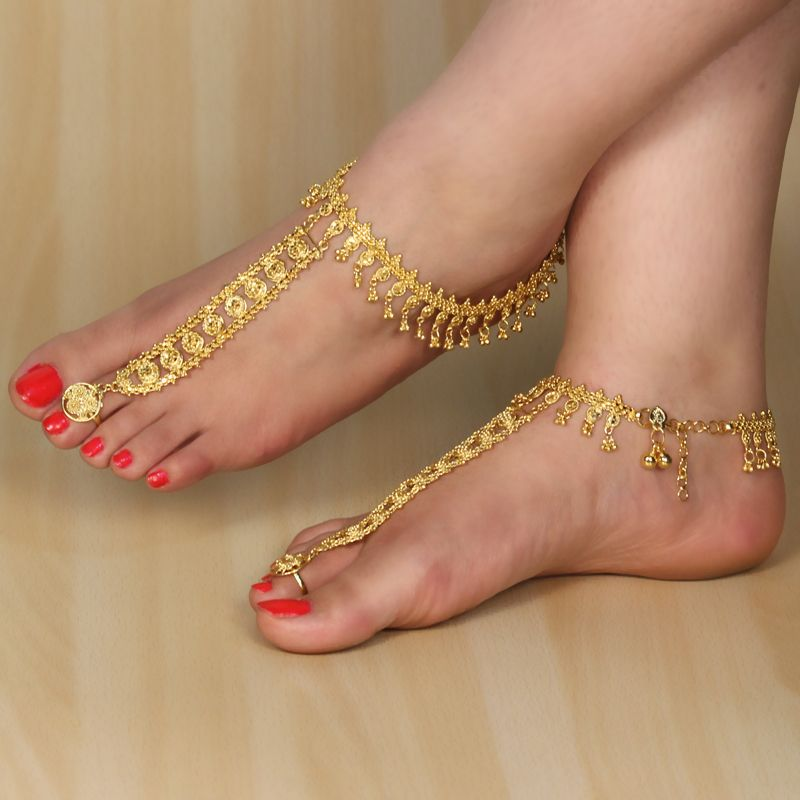 payal kundan green for jewelbox gold code meenakari women buy online polki pair feri red anklet plated the shopping product
