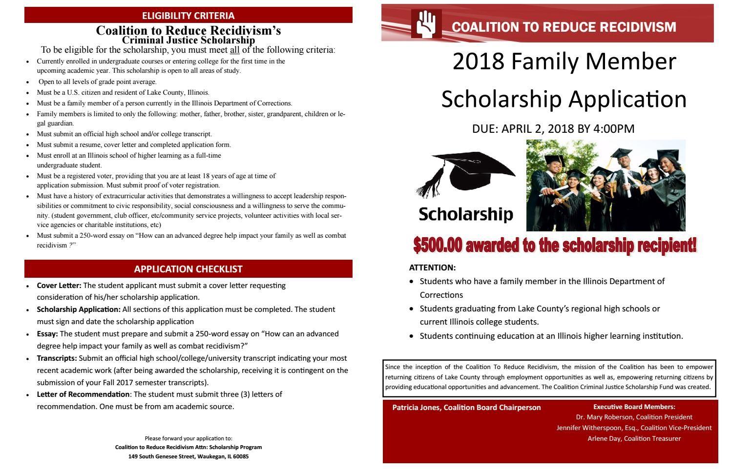 2018 Coalition Family Scholarship Application