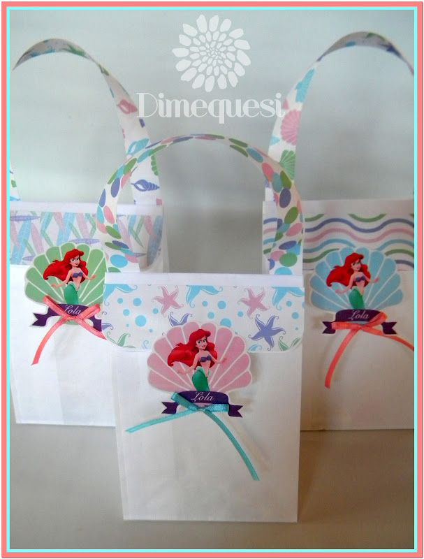 e81f7724f Bolsitas | cumple princesa disney | Sirenas, Sirena y Princesas disney