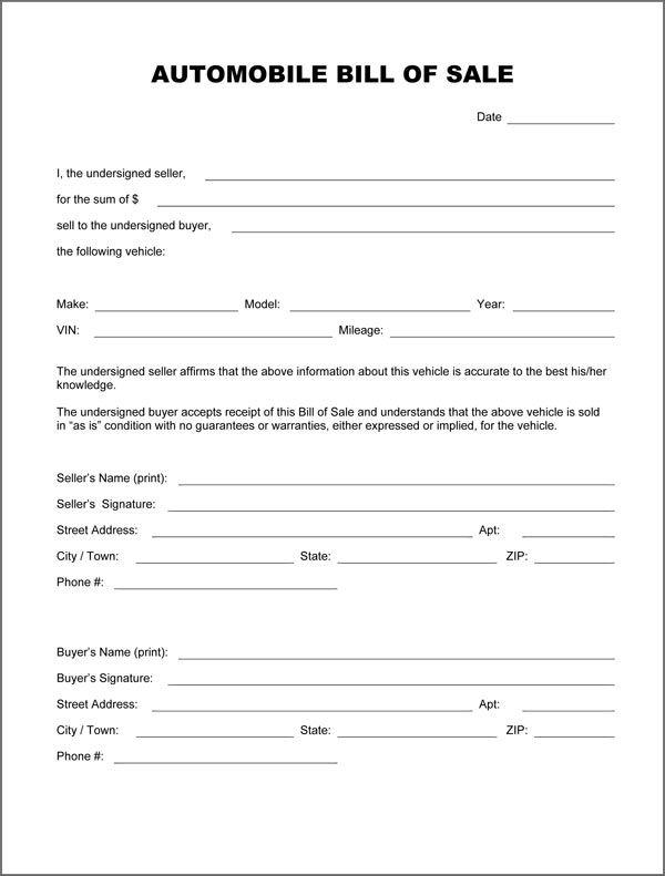 Printable Sample Auto Bill Of Sale Form Bill Of Sale