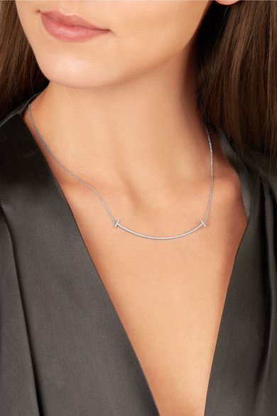 2f2d1d3e4 TIFFANY & CO. T Smile luscious 16-18 18-karat white gold necklace in ...