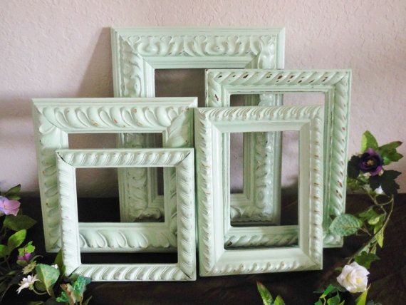 Mint Picture Frames.  Open Frame Set Shabby by GiftsByIrisWithLove