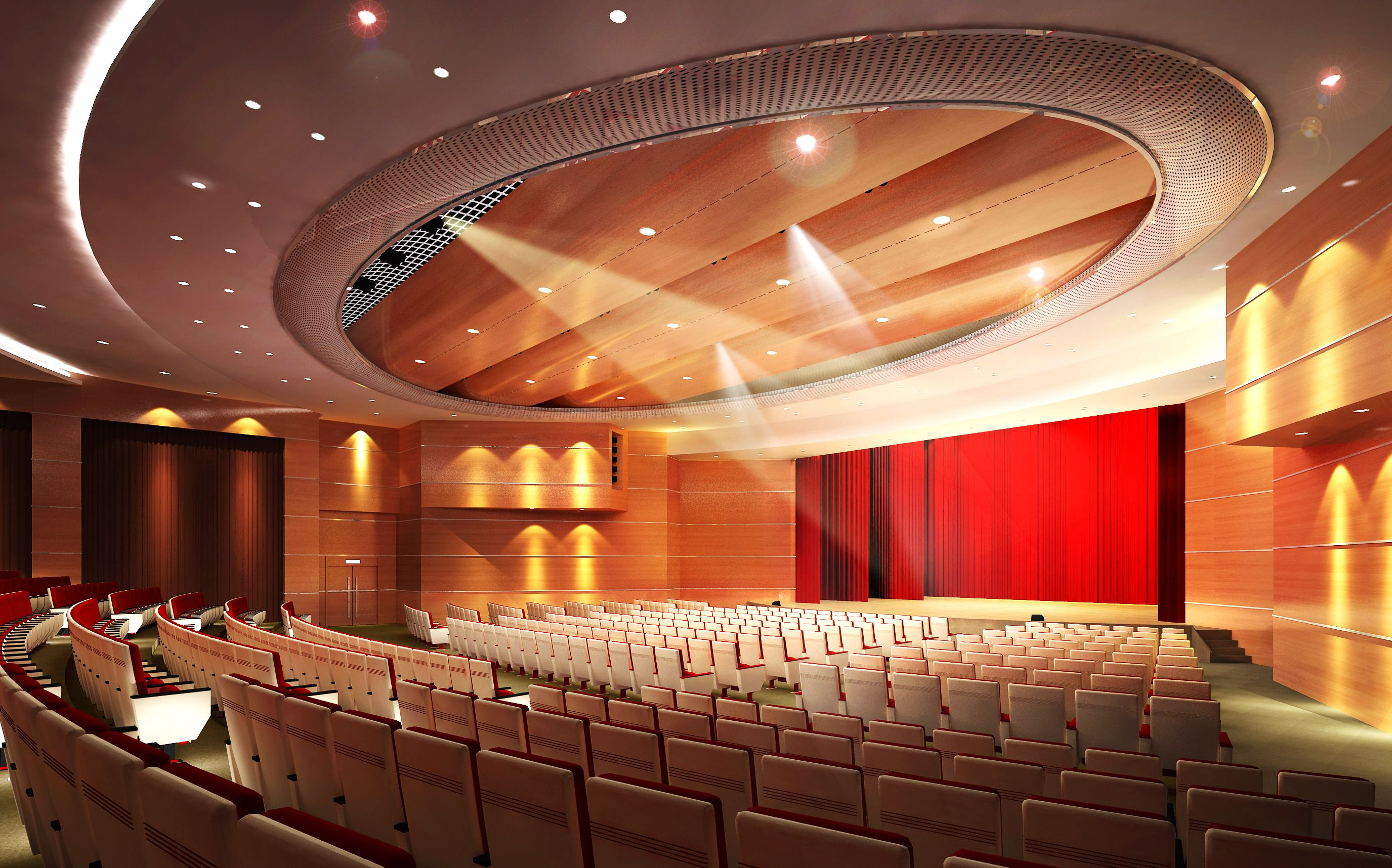 Auditorium Room008 3D Model- * Highly detailed Hi-Tech