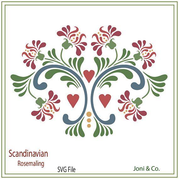 Scandinavian SVG File, Rosemaling tulips, Swedish folk art svg ...
