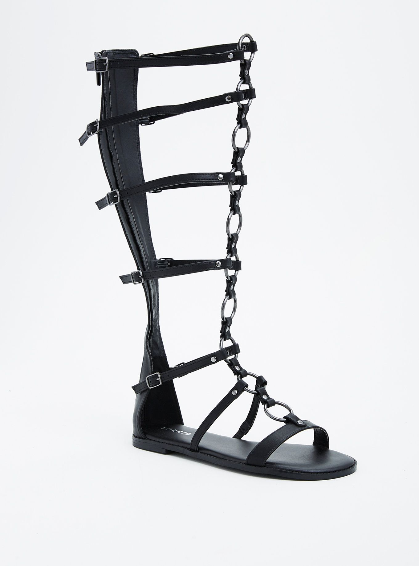 O Ring Knee Gladiator Sandals (Wide