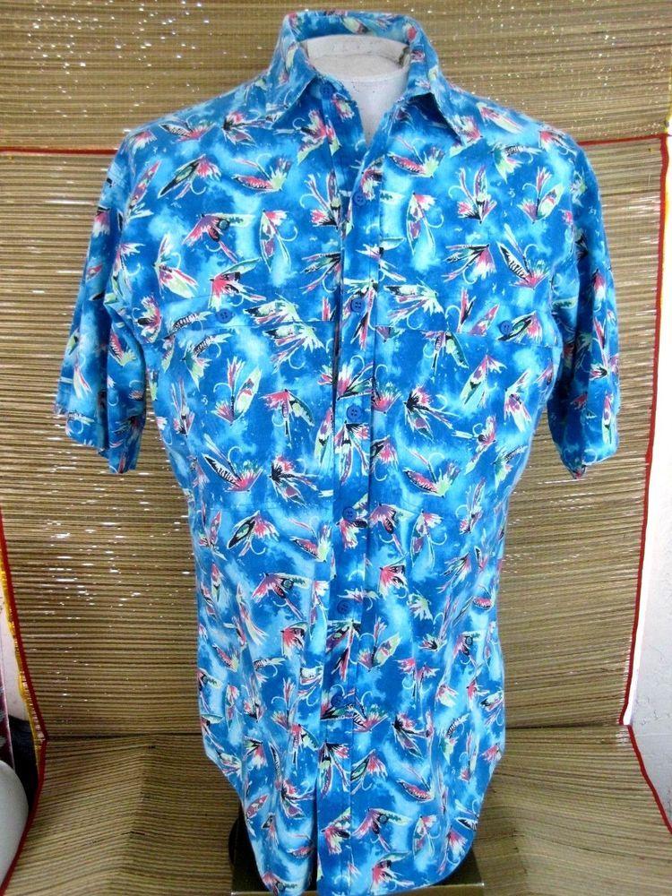 2ce4ba6b COLUMBIA Men shirt short sleeve 2 pocket sz L fly fishing lures p2p 24