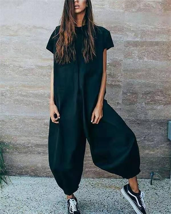 Solid Casual Short Sleeve Jumpsuits Gallery