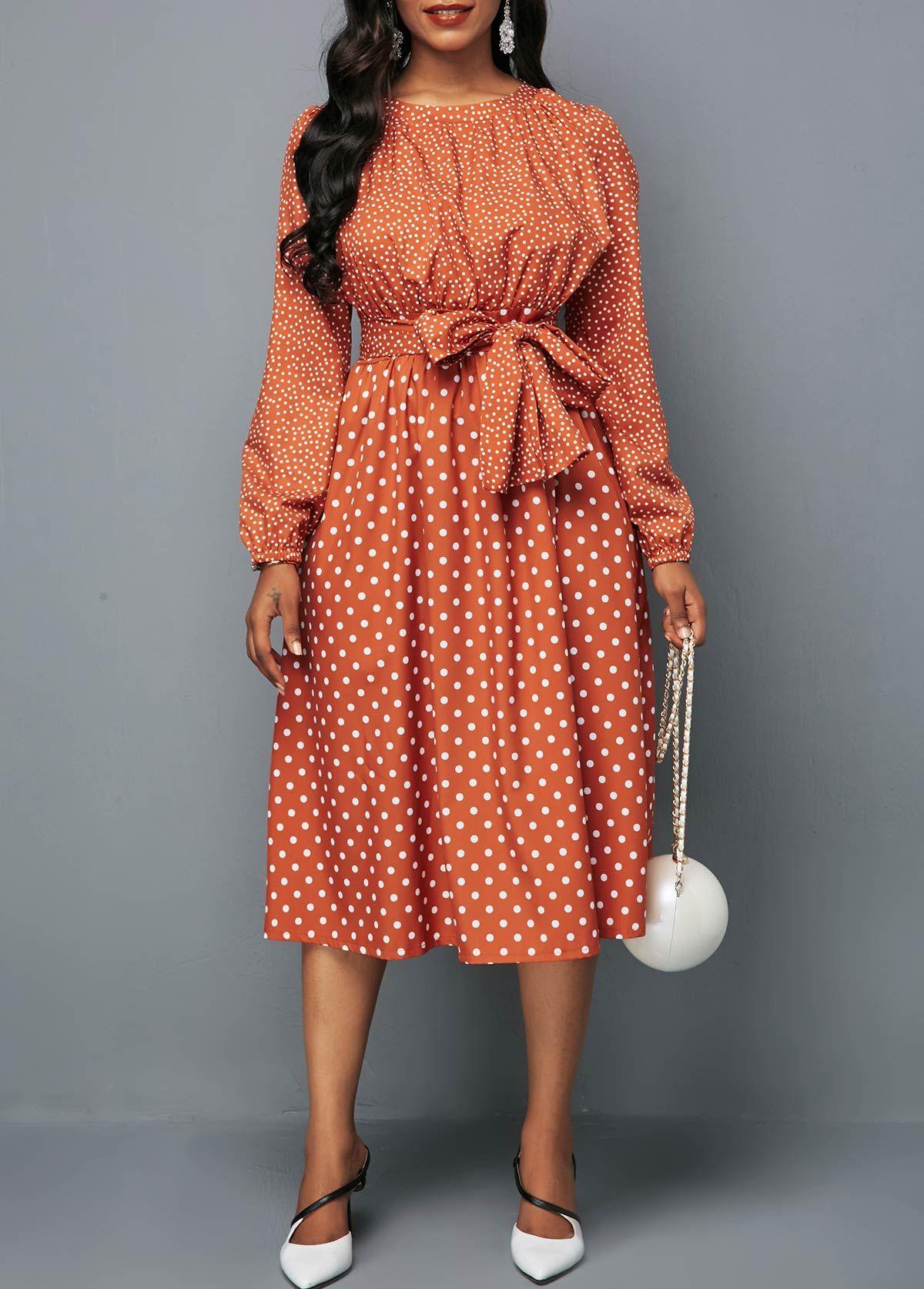 Round Neck Belted Long Sleeve Polka Dot Dress Rotita Com Usd 28 63 Shop Casual Dresses Dresses Belted Dress [ 1674 x 1200 Pixel ]