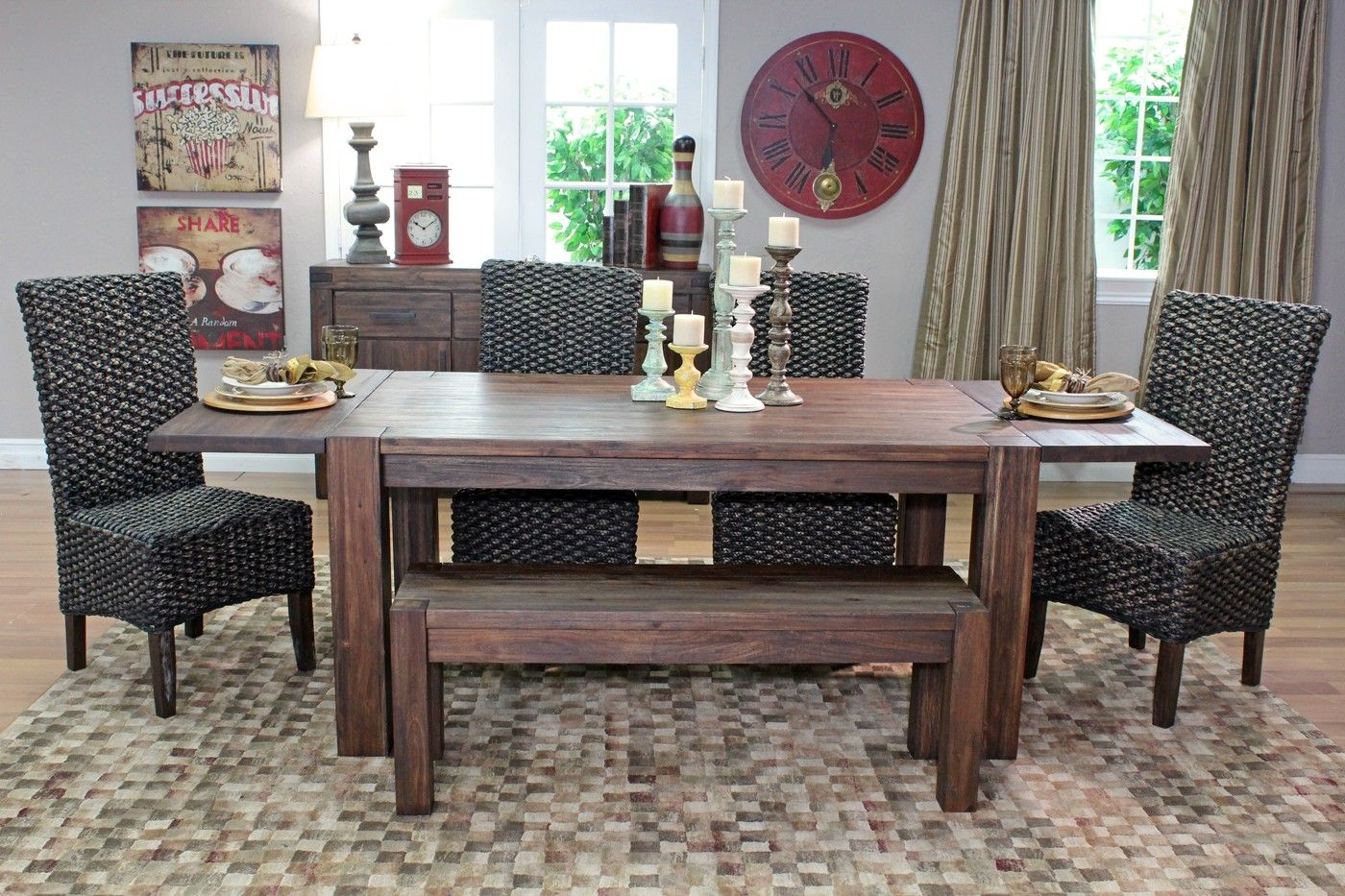 Meadow Table, 2 Chairs, Bench Rustic dining room sets