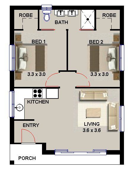 2 bedroom granny flat pinteres for Two bedroom flat plan