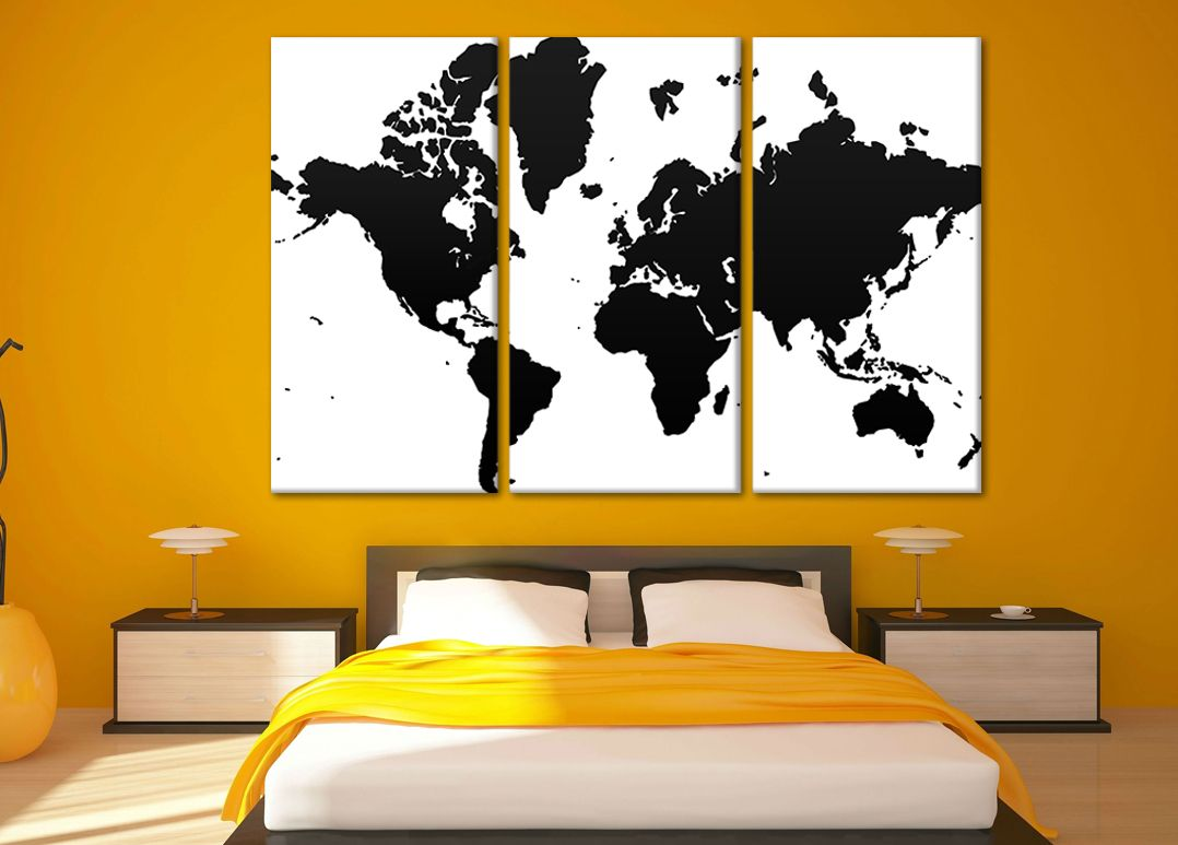 canvas world map, world map print, world map wall art, art print ...
