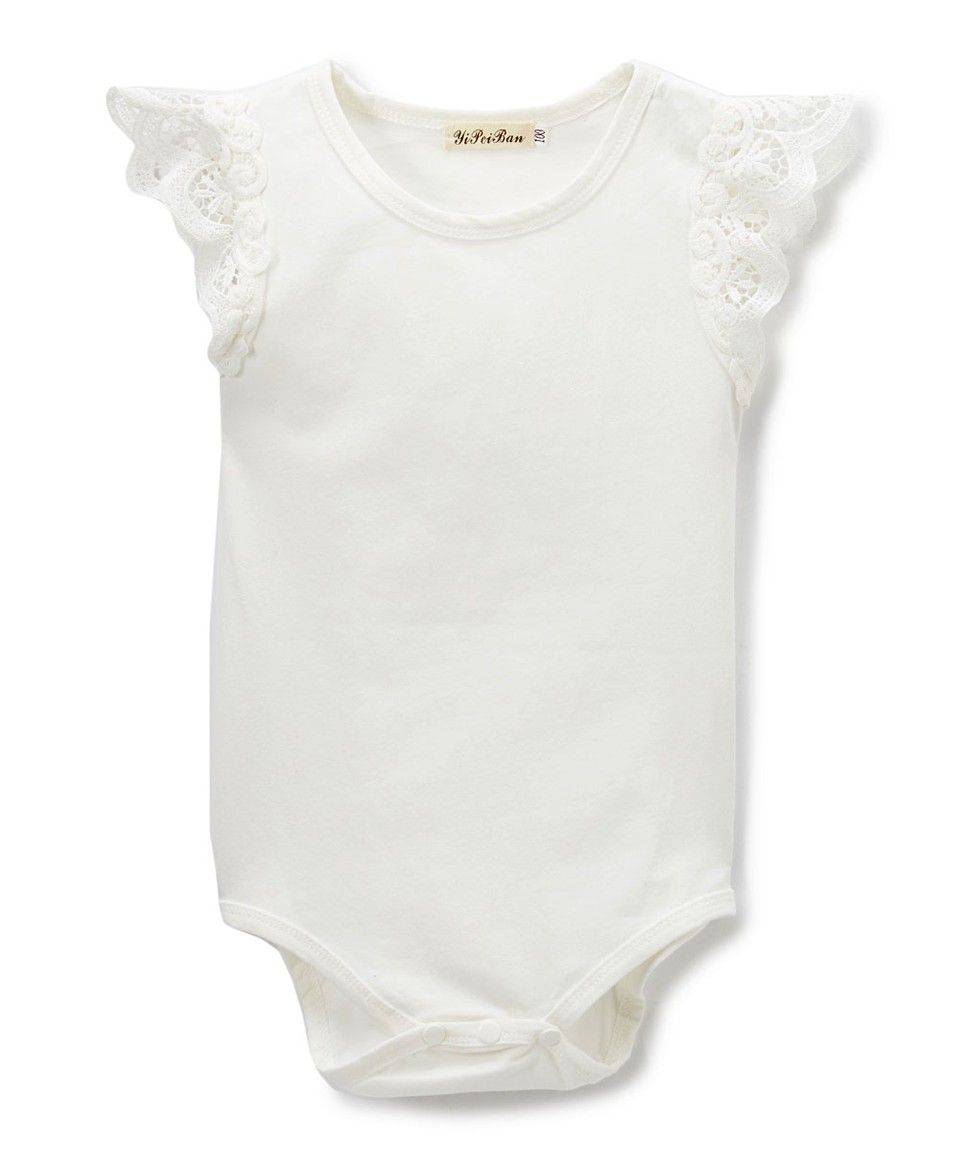 027922274 Take a look at this White Lace Angel-Sleeve Bodysuit - Infant today ...