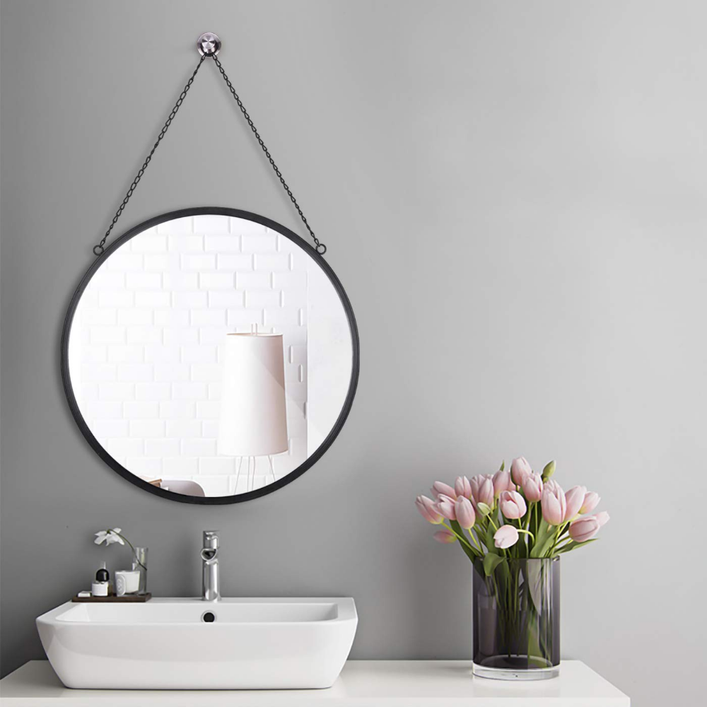 Rumcent Round Wall Mirror Modern Metal Framed Mirror Decorative