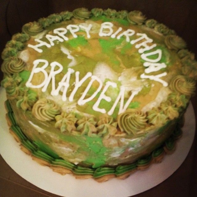 Mensboys Camouflage Birthday Cake With Buttercream Decoration By