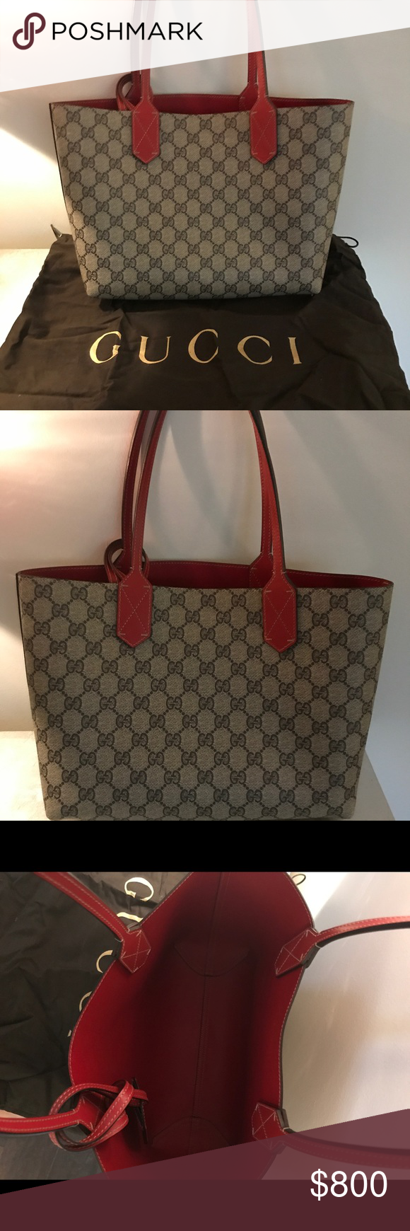 6792b6cdc97 Gucci Reversible Red Leather   Gg Canvas Tote Bag New without tags ...