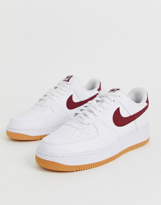 Nike Air Force 1 Trainers With Red Swoosh And Gum Sole Nike Air