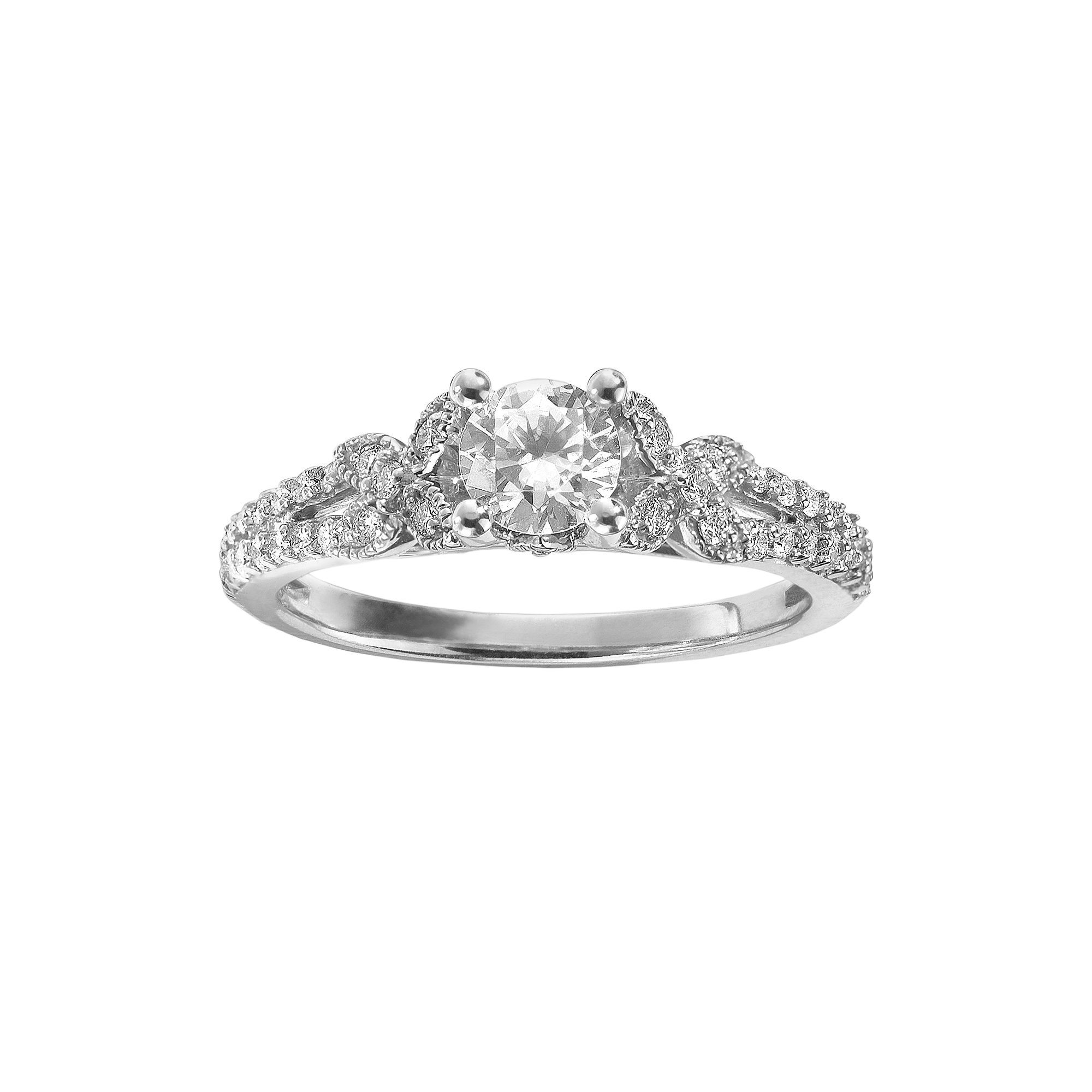 diamond platinum leo dantela tacori setting three rings princess stone engagement product