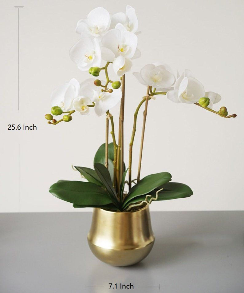 Real Touch Orchid Arrangement In Gold Metal Vase 26 Tall Etsy Orchid Arrangements Rose Floral Arrangements Floral Arrangements