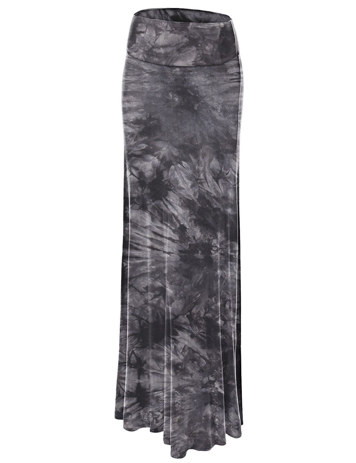 04b32b841e935 Lock and Love LL Womens Tie Dye Fold Over Maxi Skirt Lock and Love ...