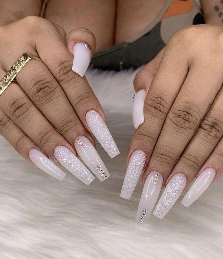 White Glitter Coffin Nails