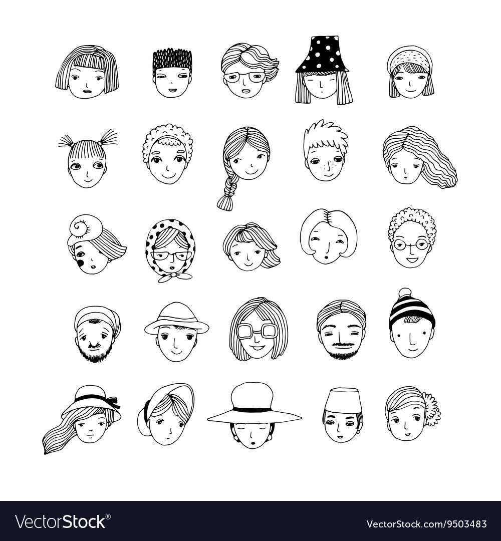 Different faces Hand drawing isolated objects on vector image on VectorStock