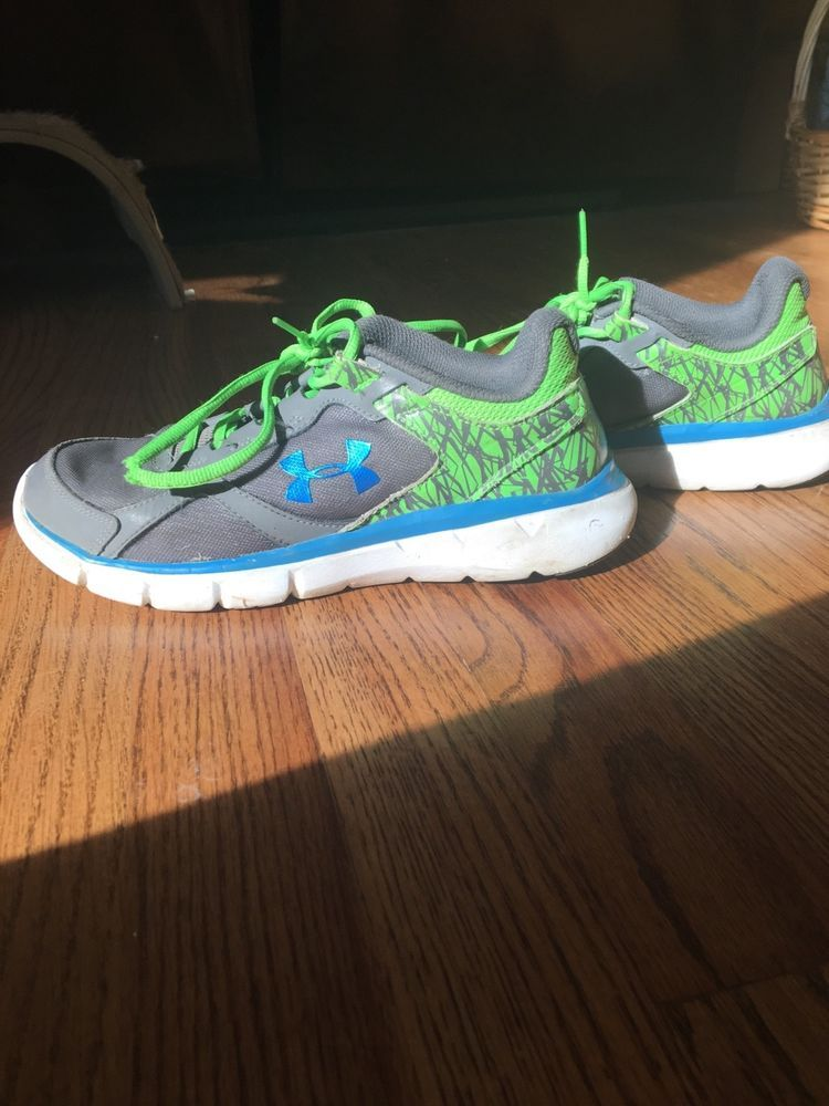 blue and green under armour shoes
