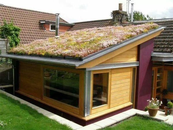 Green Roof Garden House Exterior In Green Hauswand Dachbegrunung Gartenhaus