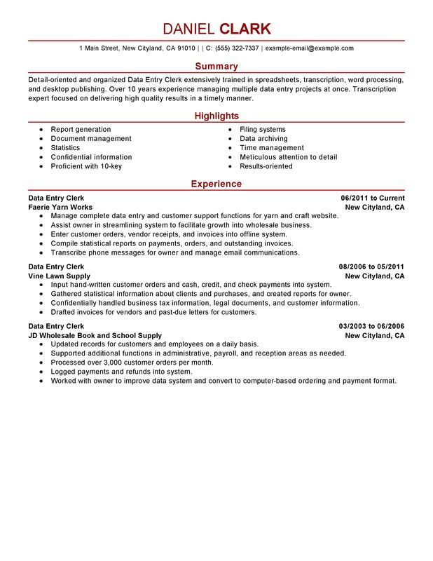 Data Entry Clerk Resume Sample Ideas for the House Pinterest - receptionist job description on resume