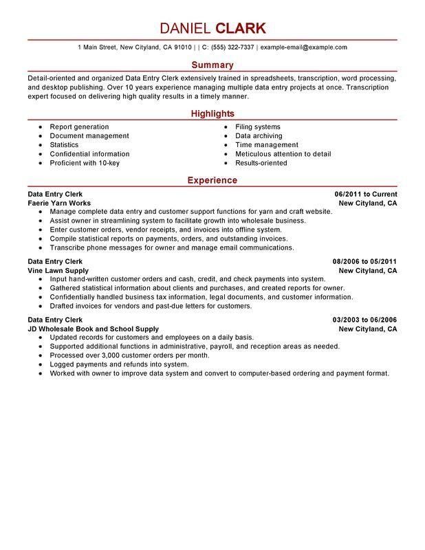 Data Entry Clerk Resume Sample  Ideas for the House  Job