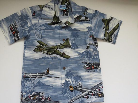 a92decaa Boys Size 8 Hawaiian Aloha Shirt - WW11 Bomber Planes - Made in Hawaii -  Military