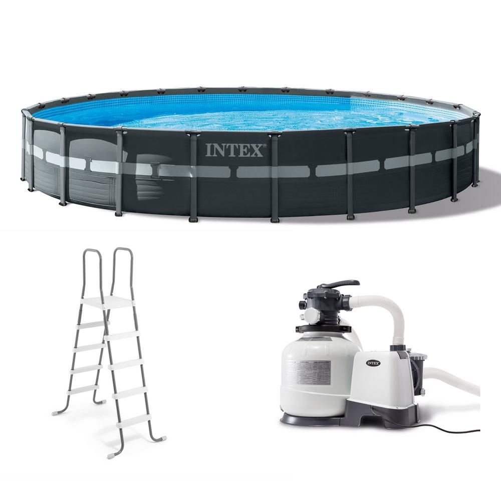 Intex 24 Ft X 52 In Ultra Xtr Frame Round Swimming Pool Set With Sand Filter Pump 26339eh The Home Depot Round Above Ground Pool Intex Pool Ladder